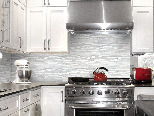 Kitchen Backsplash Tile Ideas With White Cabinets Marble Glass Black Countertop Cabinet