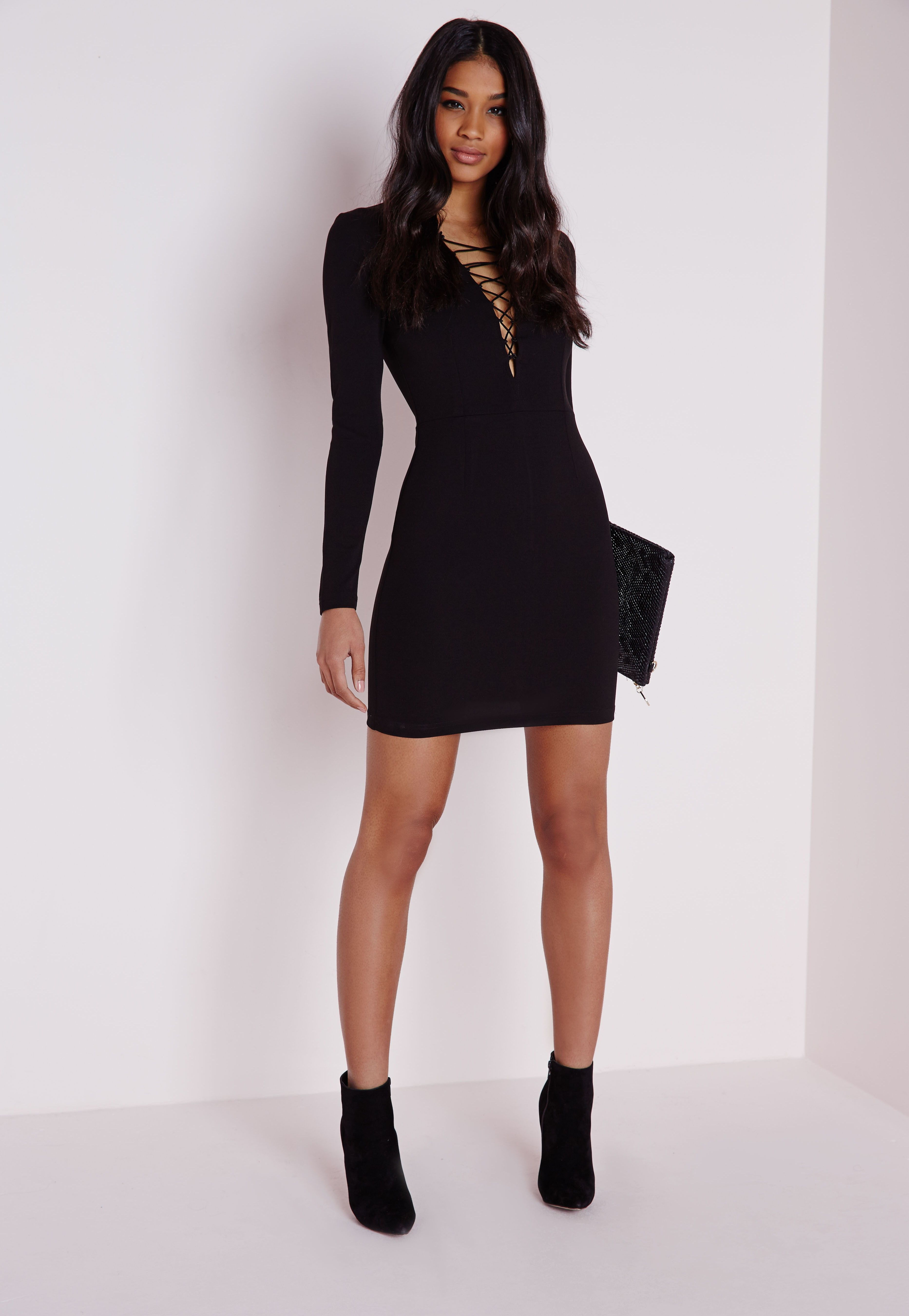 Missguided Crepe Lace Up Front Mini Dress Black Style