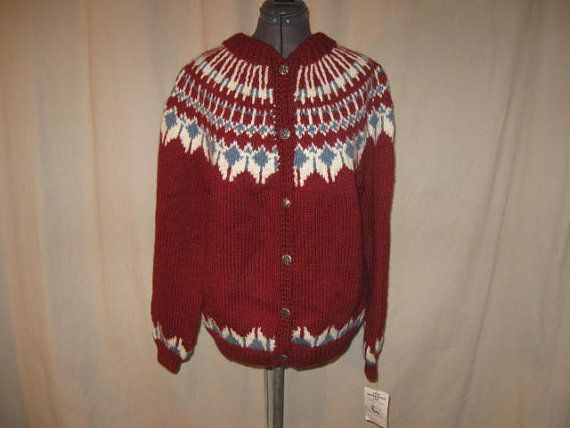 Vintage 90s Icelandic Fair Isle Dark Red Canadian Hand Knit 100 ...