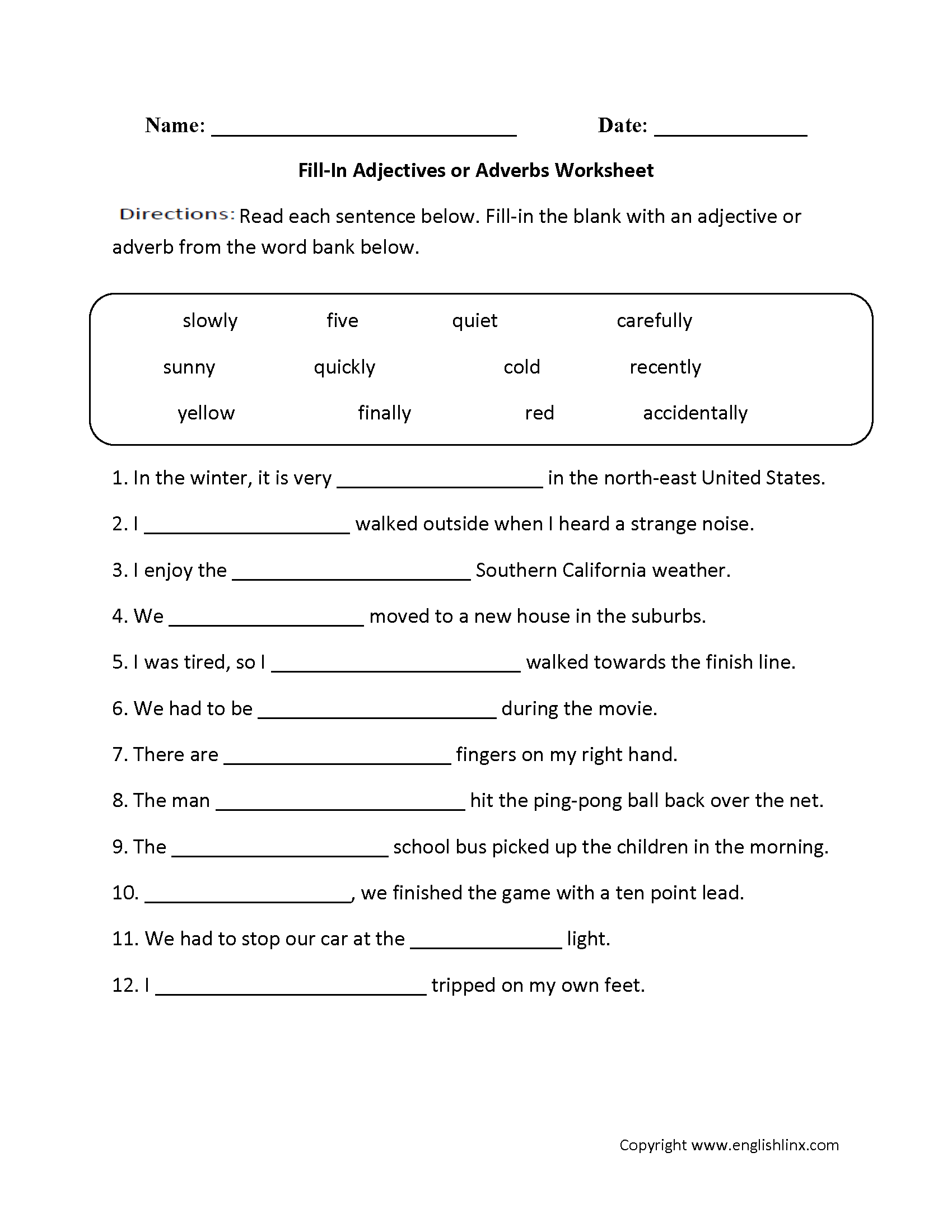 Worksheets Appositive Worksheets fill in adjectives or adverbs worksheet education pinterest worksheet