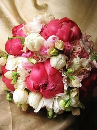 White, Pink And Deep Pink Wedding Bouquet Featuring Peonies, Double Tulips,  Sweet Peas And More By Nancy Liu Chin.