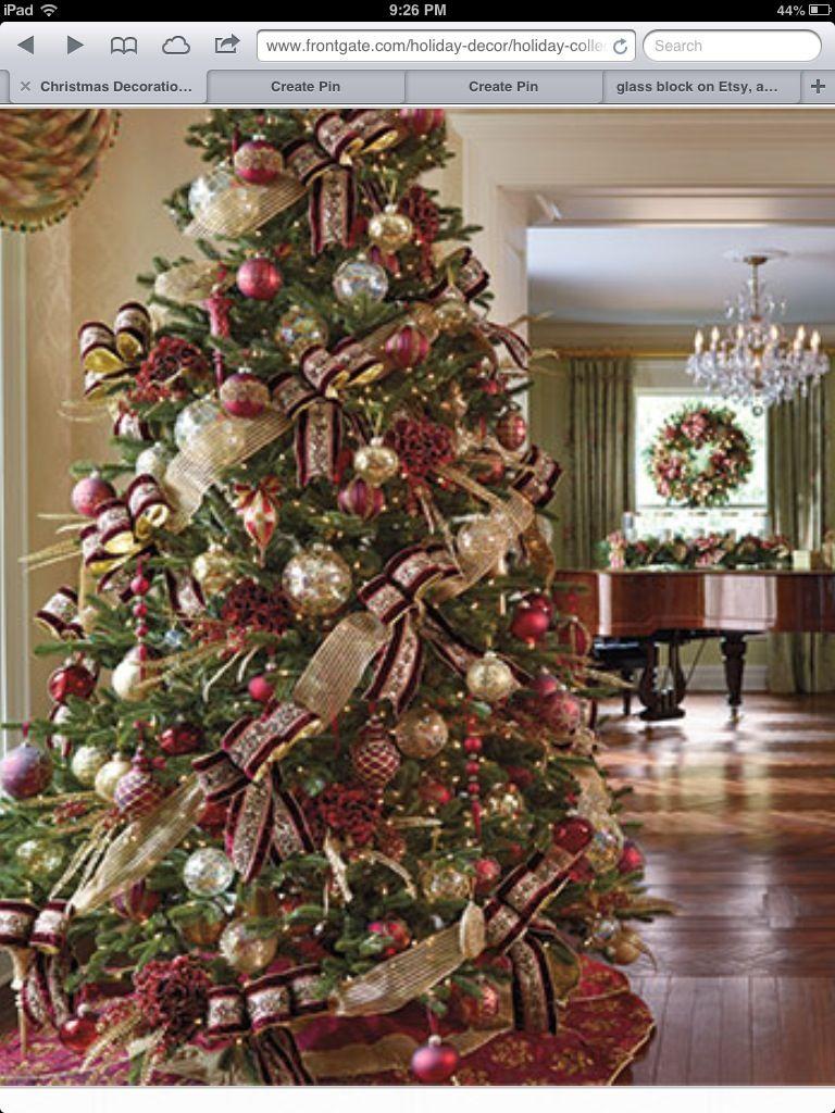 Burgundy And Gold Christmas Tree Christmas Decor