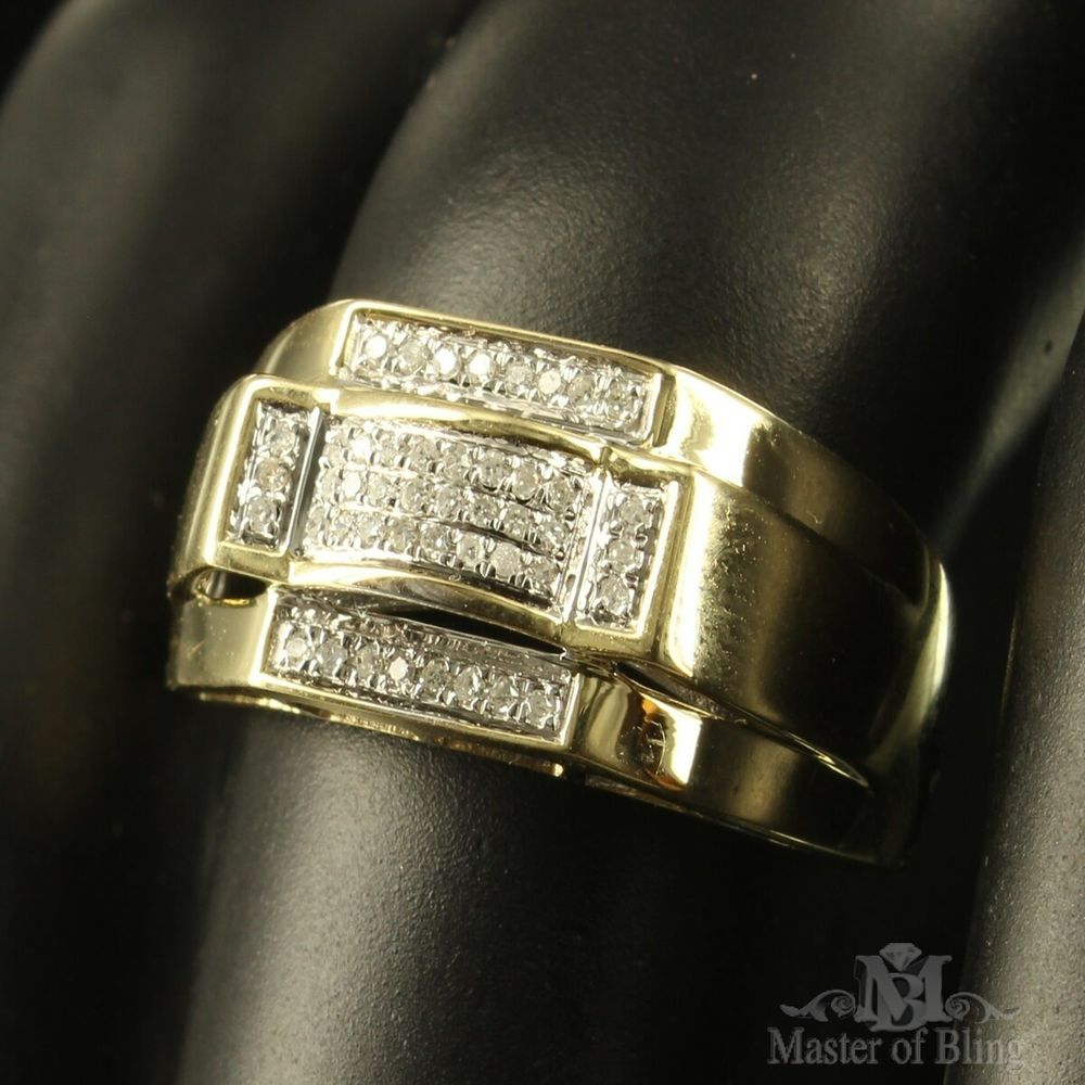 Unique Men Fashion Wear Pinky Ring Groom Band 10k Gold 2 Tone Diamond Ring Sale. This sale is for a custom, brilliantly styled men's signet style/groom ring with a solid 10k yellow gold band and smart cut diamonds!!