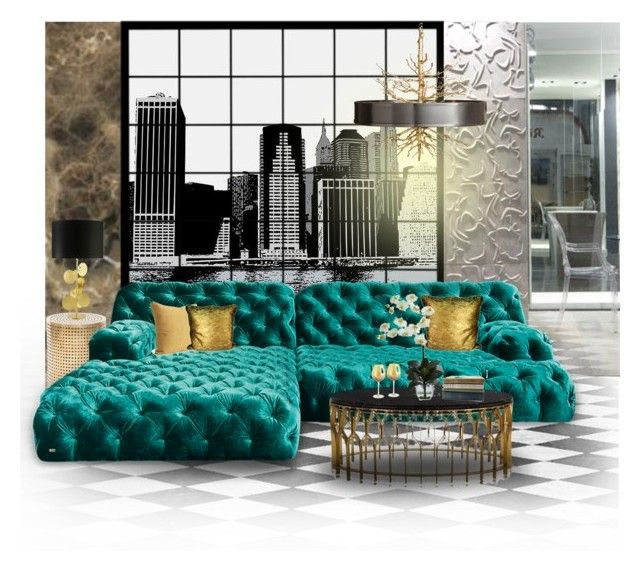 """""""Tufted Sofa :: 010915"""" by irafra ❤ liked on Polyvore featuring interior, interiors, interior design, home, home decor, interior decorating, Pacific Coast, Kelly Wearstler, MARIONI and Pier 1 Imports"""