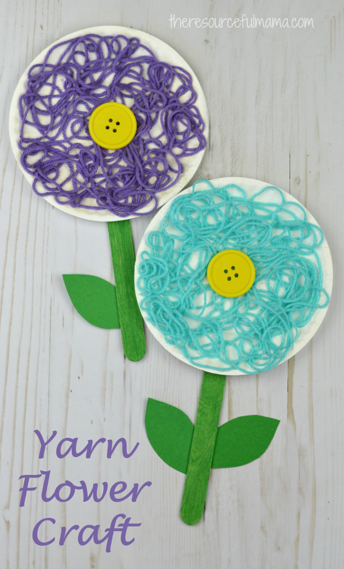 This Is A Great Flower Craft For Kids To Do In The Spring Summer Or While Studying Flowers Yarn Adds Texture And Dimension Your