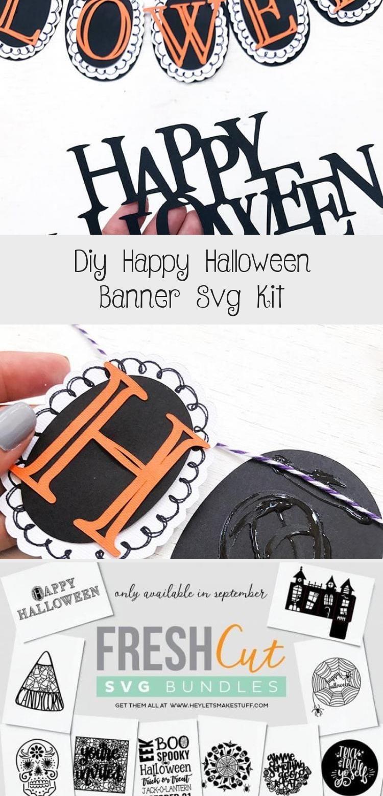 DIY Happy Halloween Banner SVG Kit - 100 Directions #Photobanner #Ribbonbanner #Banersbanner #Christmasbanner #Websitebanner #happyhalloweenschriftzug