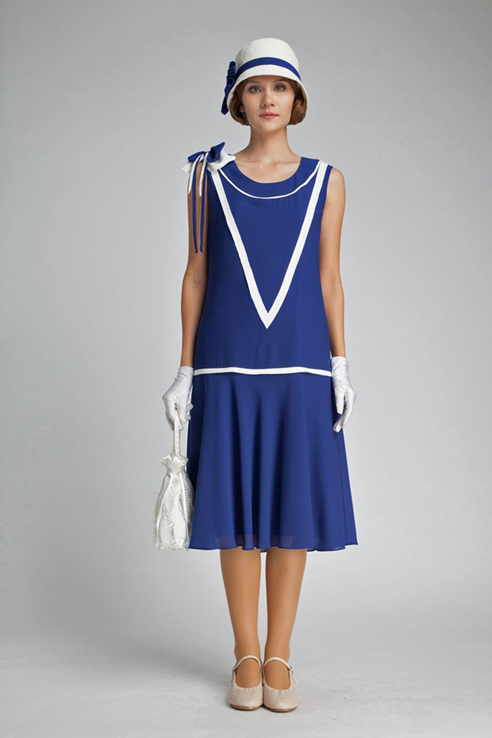 8d33d77bc5 Great Gatsby dress in dark blue and off-white