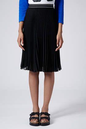 Topshop Women/'s Casual Sport Waistband Pleat Midi Skirt