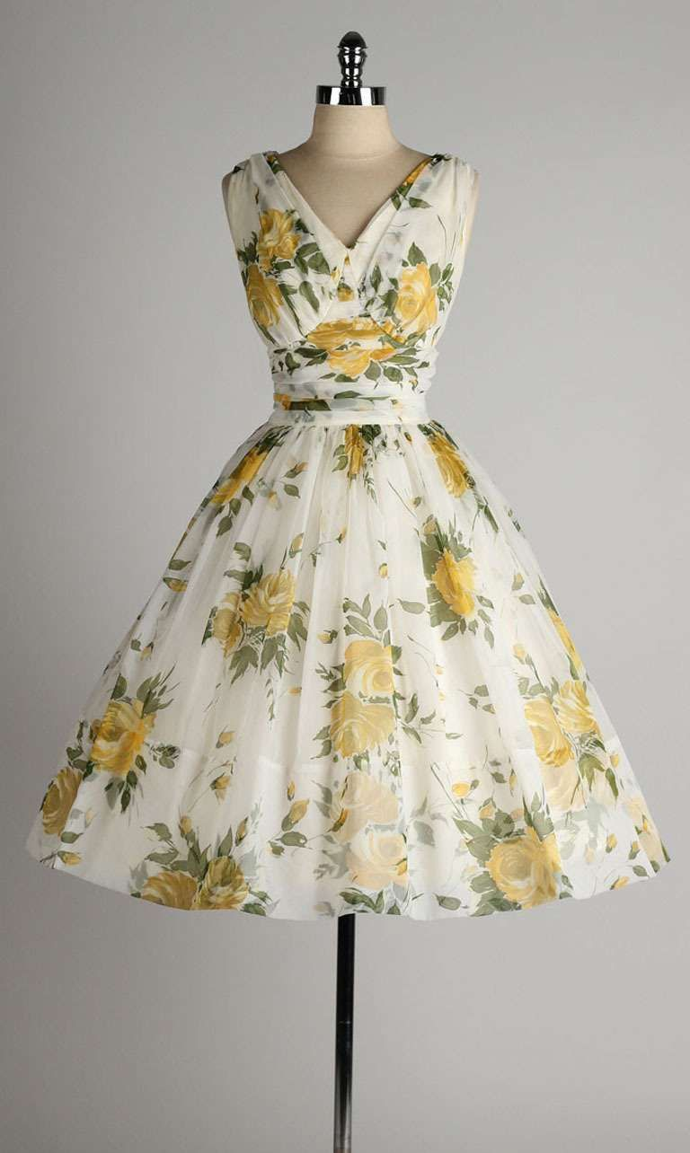 Vintage 1950 S White Chiffon Yellow Roses Cocktail Dress