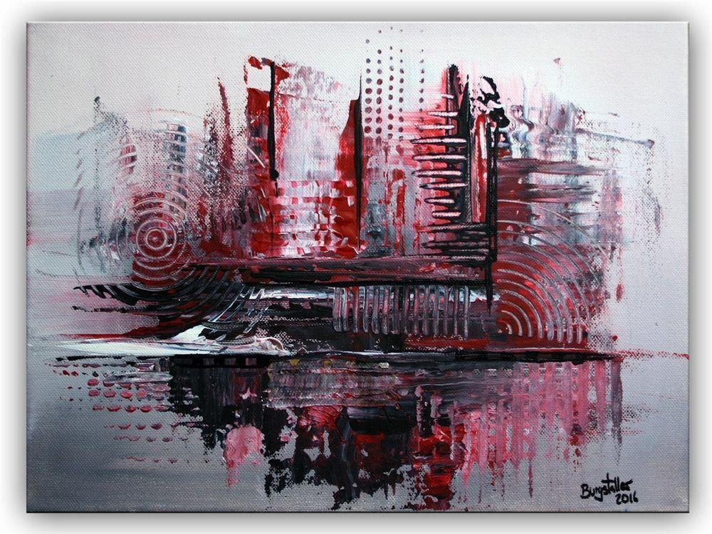 burgstaller acrylbild leinwandbild silber rot grau handgemalt abstrakte malerei ebay acrylbilder abstrakt moderne kunst malen modern