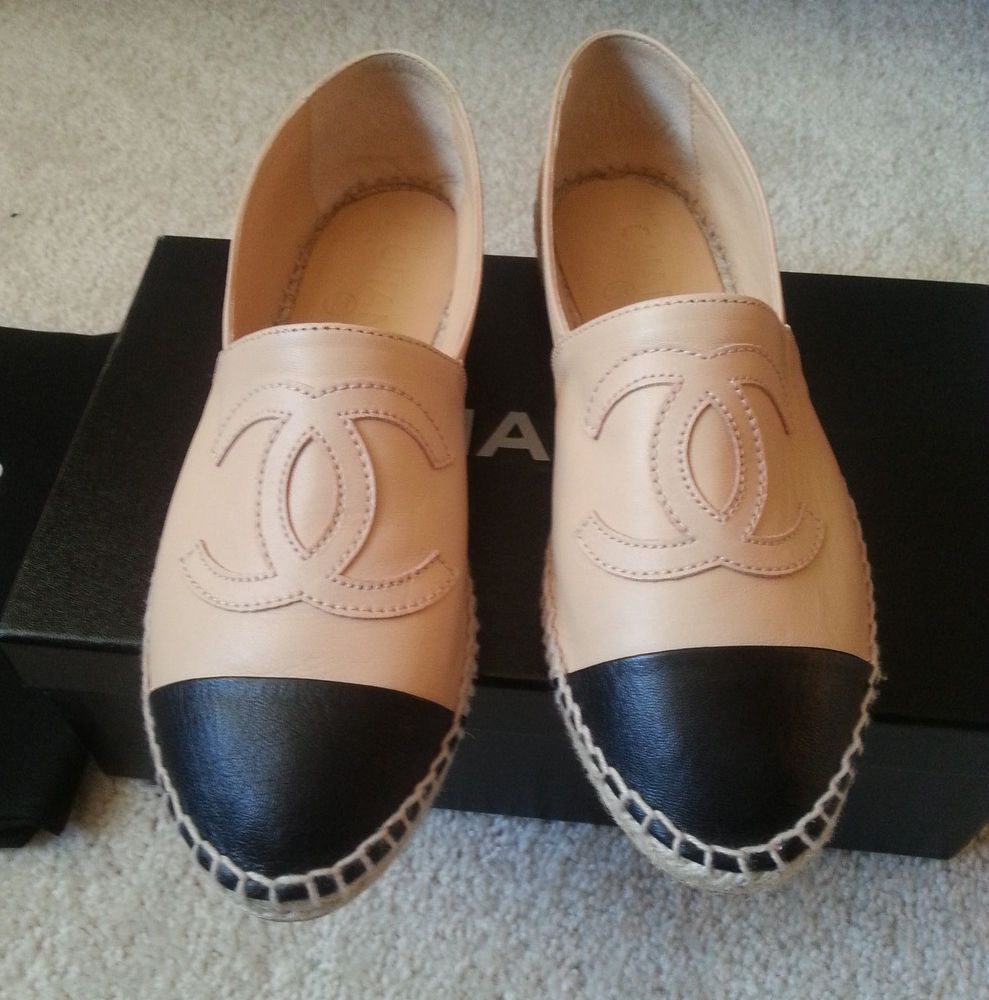 Chanel Leather Espadrilles Flats 14c Beige Tan Black Sz 38 | EBay | Flats Espadrilles And Leather