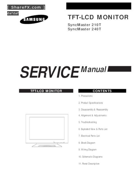 Samsung Tft Syncmaster 210t Pdf Free Manual Download Page