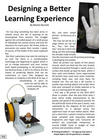 UKED Magazine Mar 2014 - Designing a learning experience with 3D printing