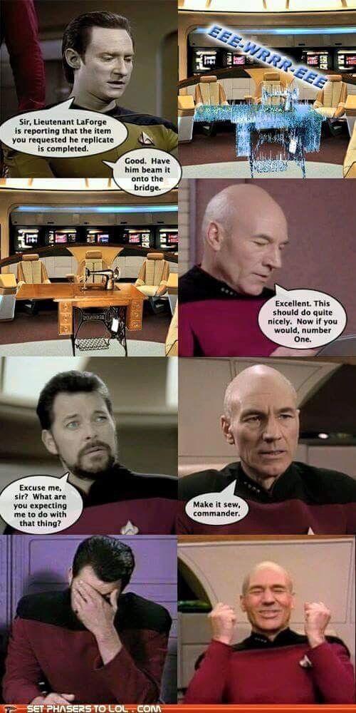 Star Trek Tng Make It Sew Star Trek Funny Star Trek Meme