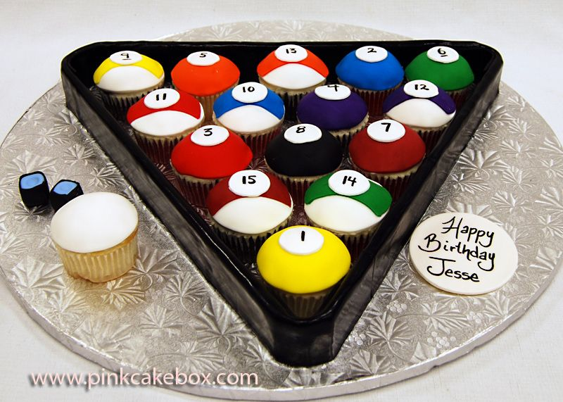 Cupcake Billiards For 50th Birthday Party 187 Pink Cake Box