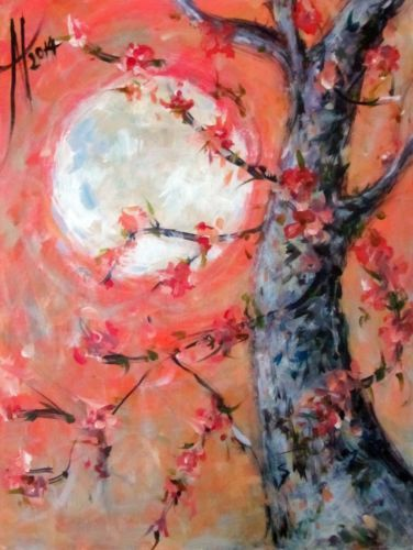 MODERN-CONTEMPORARY-ABSTRACT-ART-ORIGINAL-ACRYLIC-PAINTING-BLOSSOMS-IN-MOONLIGHT