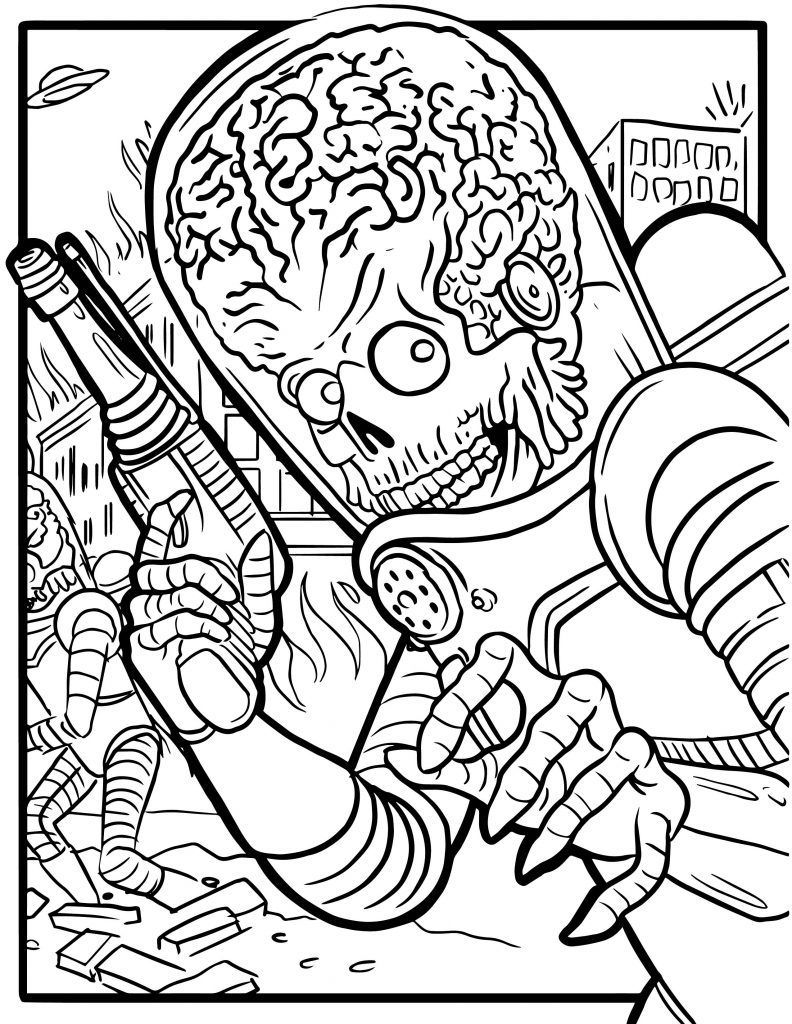 Free Mars Attacks Coloring Pages Tattoos In 2019 Mars Coloring