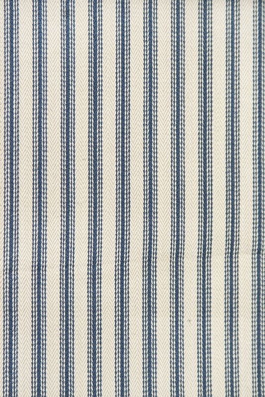 Charlestown Striped Cotton Curtain Fabric Elegant Lead Blue And