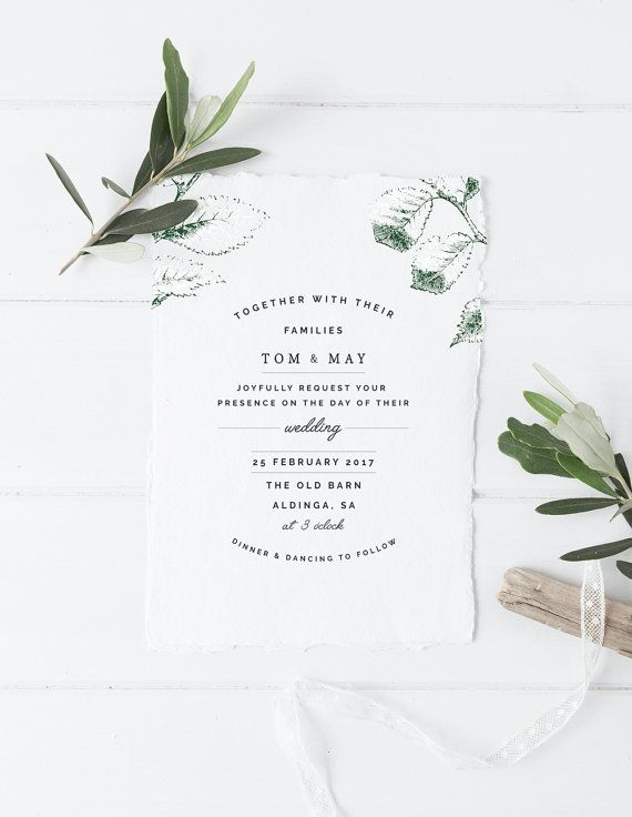 Printable Botanical Wedding Invitation Rsvp Card Double Sided
