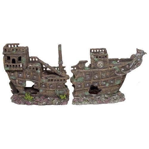 Galleon 2pcs Sunken Shipwreck Aquarium Decorations Ornaments