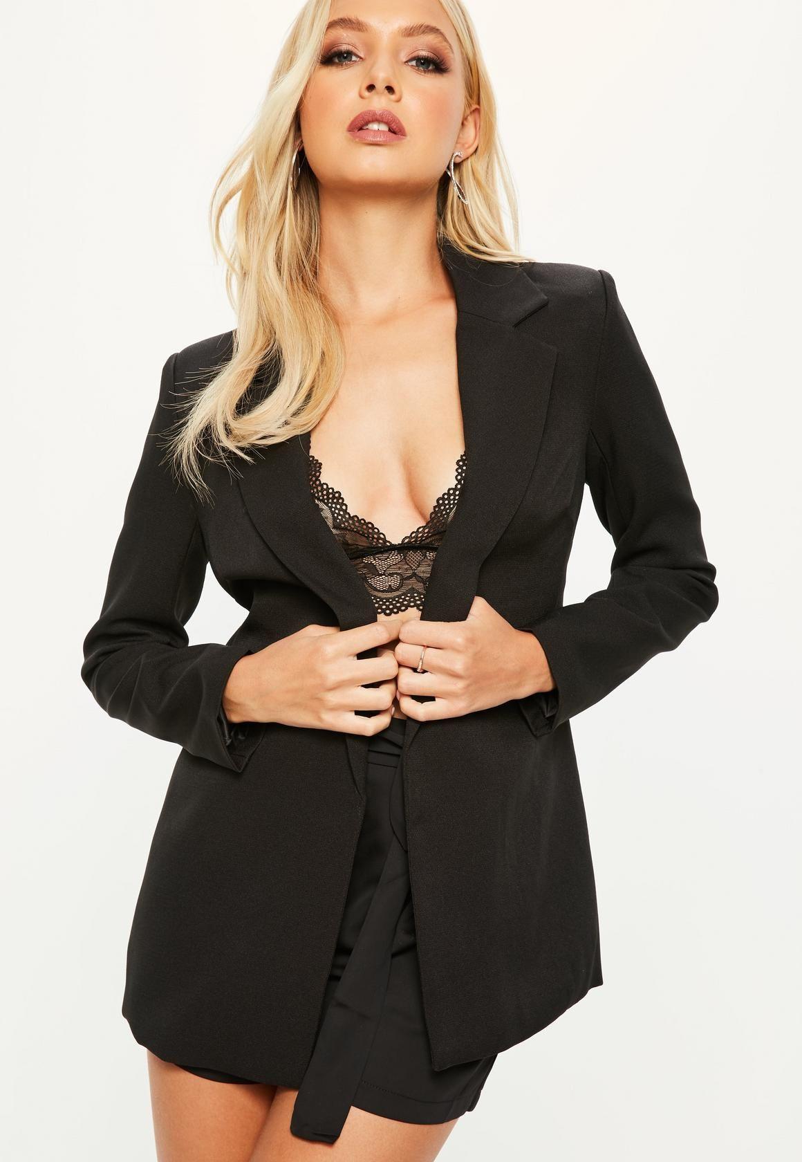 Missguided Black Longline Blazer Coats jackets women