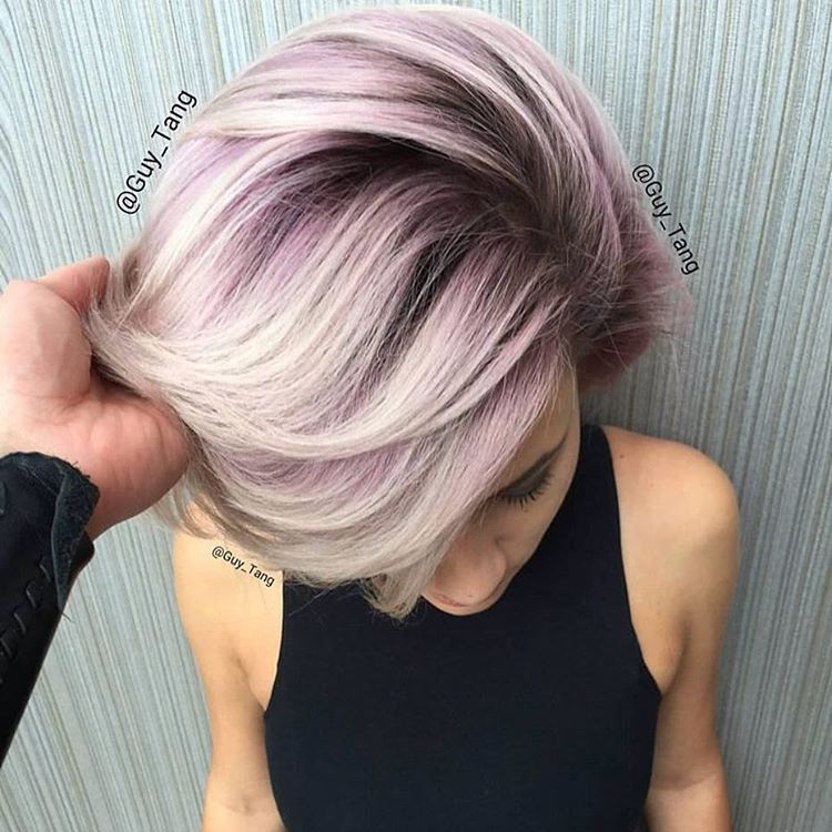 """""""@guy_tang used (on level 10 hair) #KenraColor #MetallicObsession Demi 8VM midshaft and 9VM on ends and went in using #KenraColorCreative Violet to create…"""""""