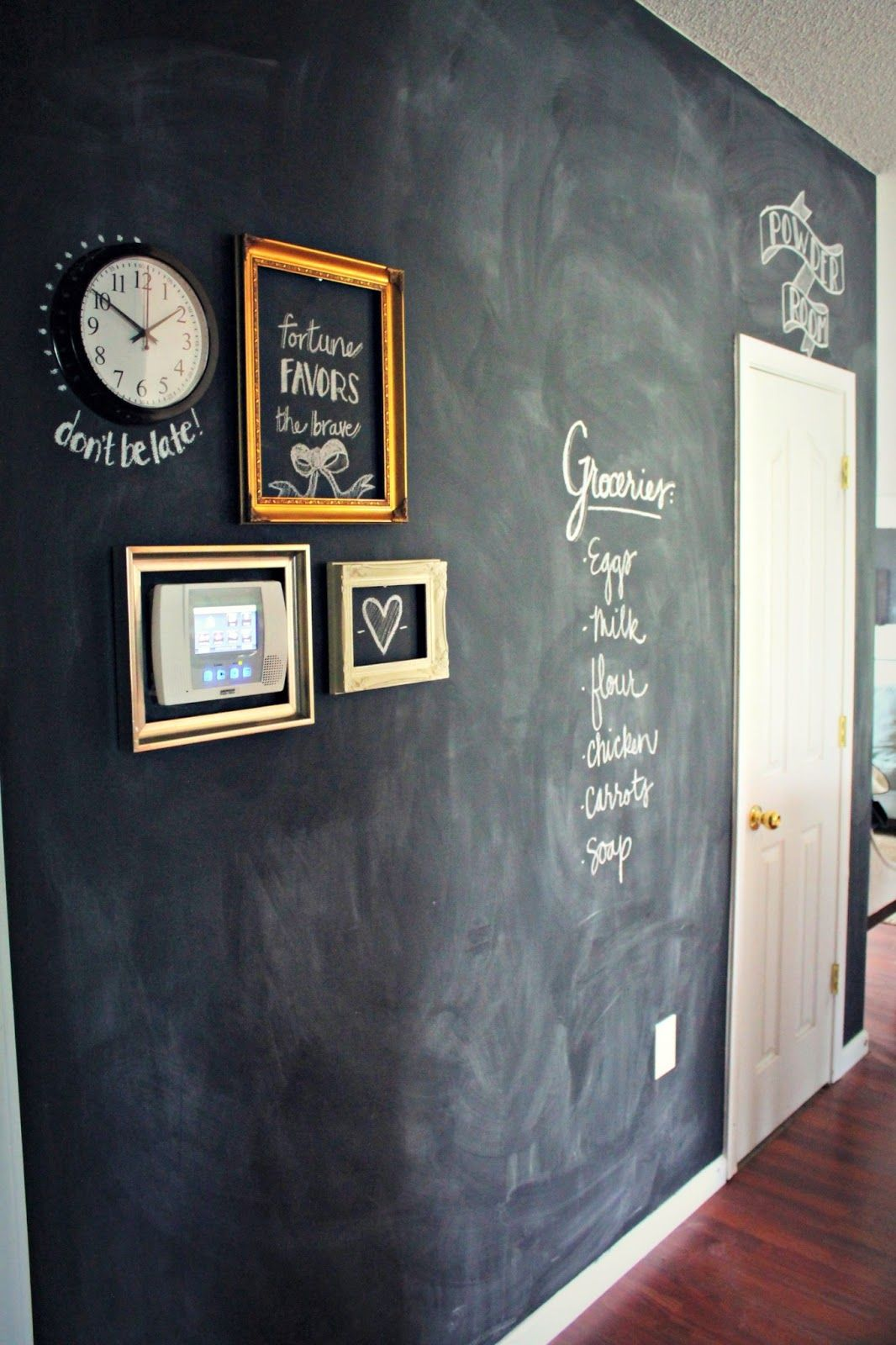 DIY Chalkboard Hallway - for the wall next to pantry ...