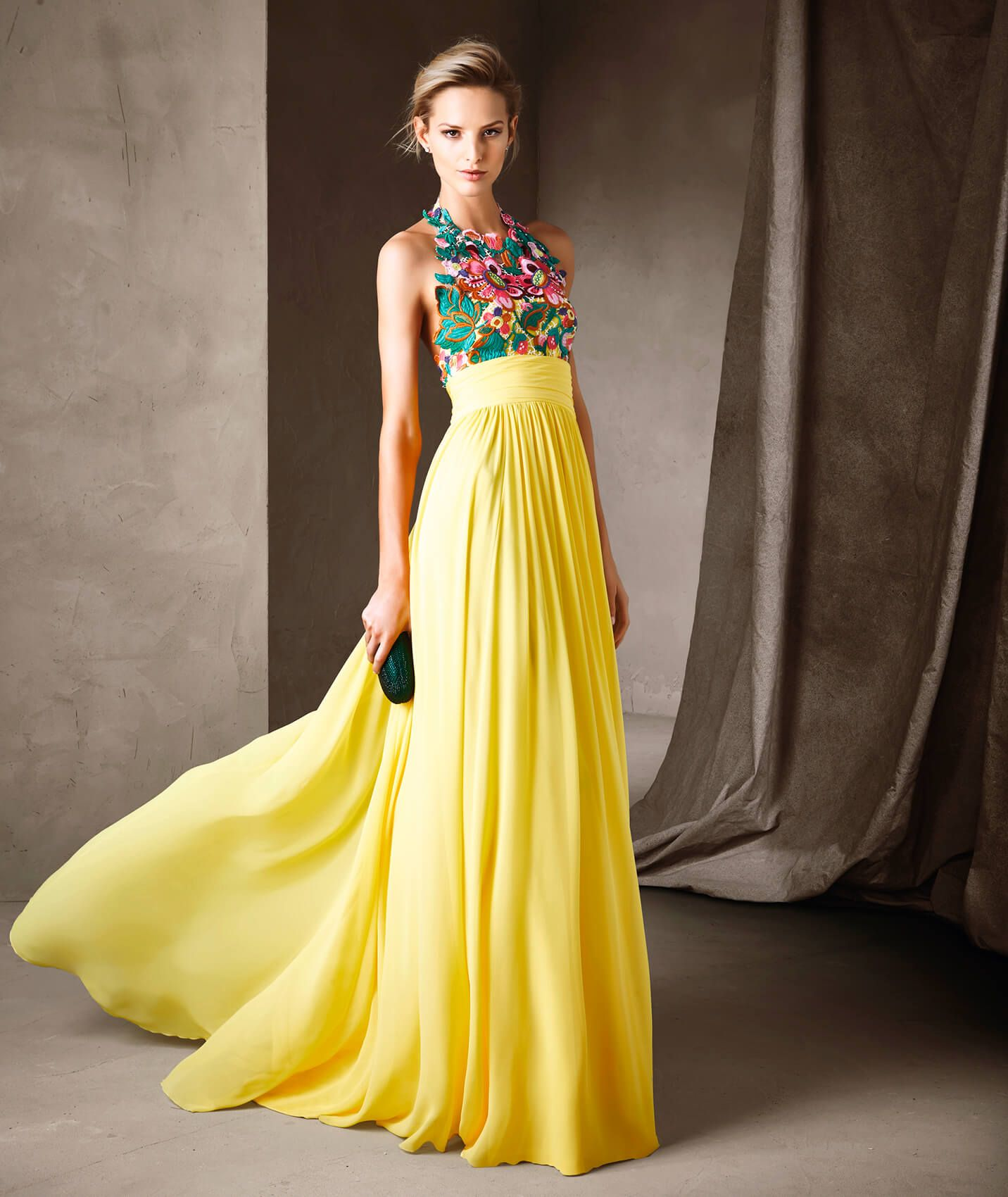 Springtime comes alive in a long flared dress in gauze and multi