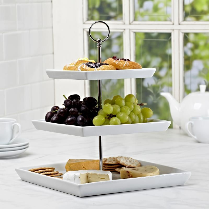 Ksp Plateau Serving Platter 3 Tier 17 21 25 Cm Sqr White Kitchen Stuff Plus Platters Tiered Serving Platters Serving Platters