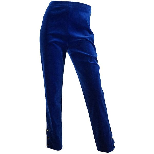 Pre-owned Rare 1980s Blue Velvet Chanel Cigarette Pants (1.415 BRL) ❤ liked on Polyvore featuring pants, bottoms, trousers, pantalones, cigarette trousers, stretchy pants, velvet pants, flat-front pants and cuff pants