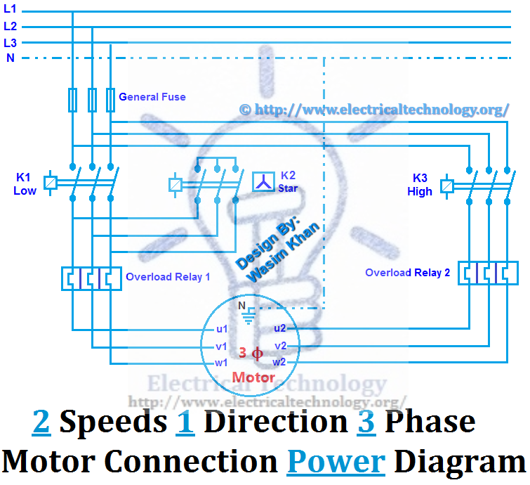two speeds one direction three phase motor connection power diagram