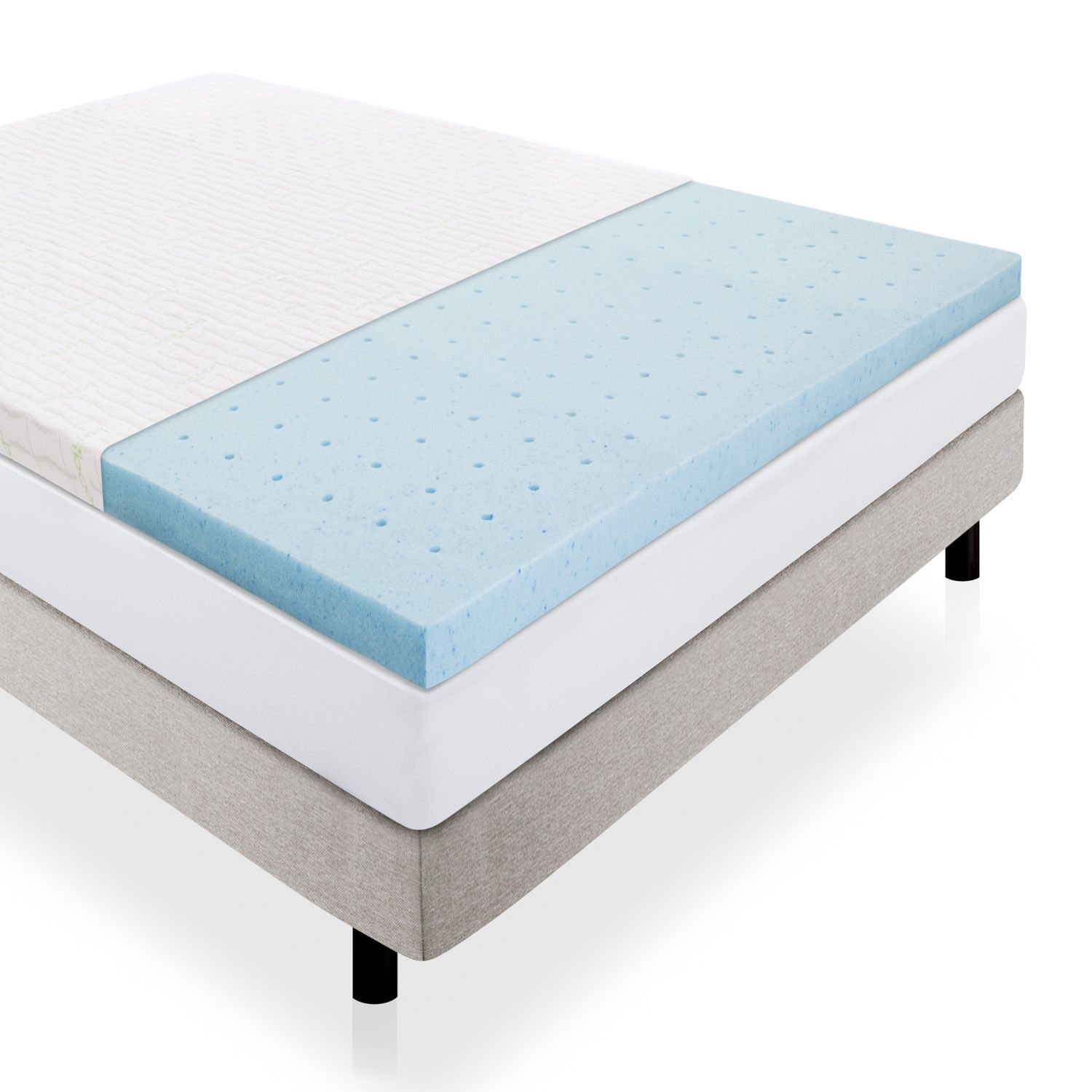 2 5 Inch Pureflow Ventilated Gel Memory Foam Mattress Topper With Removable Cover By Lucid Comfort Collection Blue California King Memory Foam Mattress Topper Mattress Mattress Pad