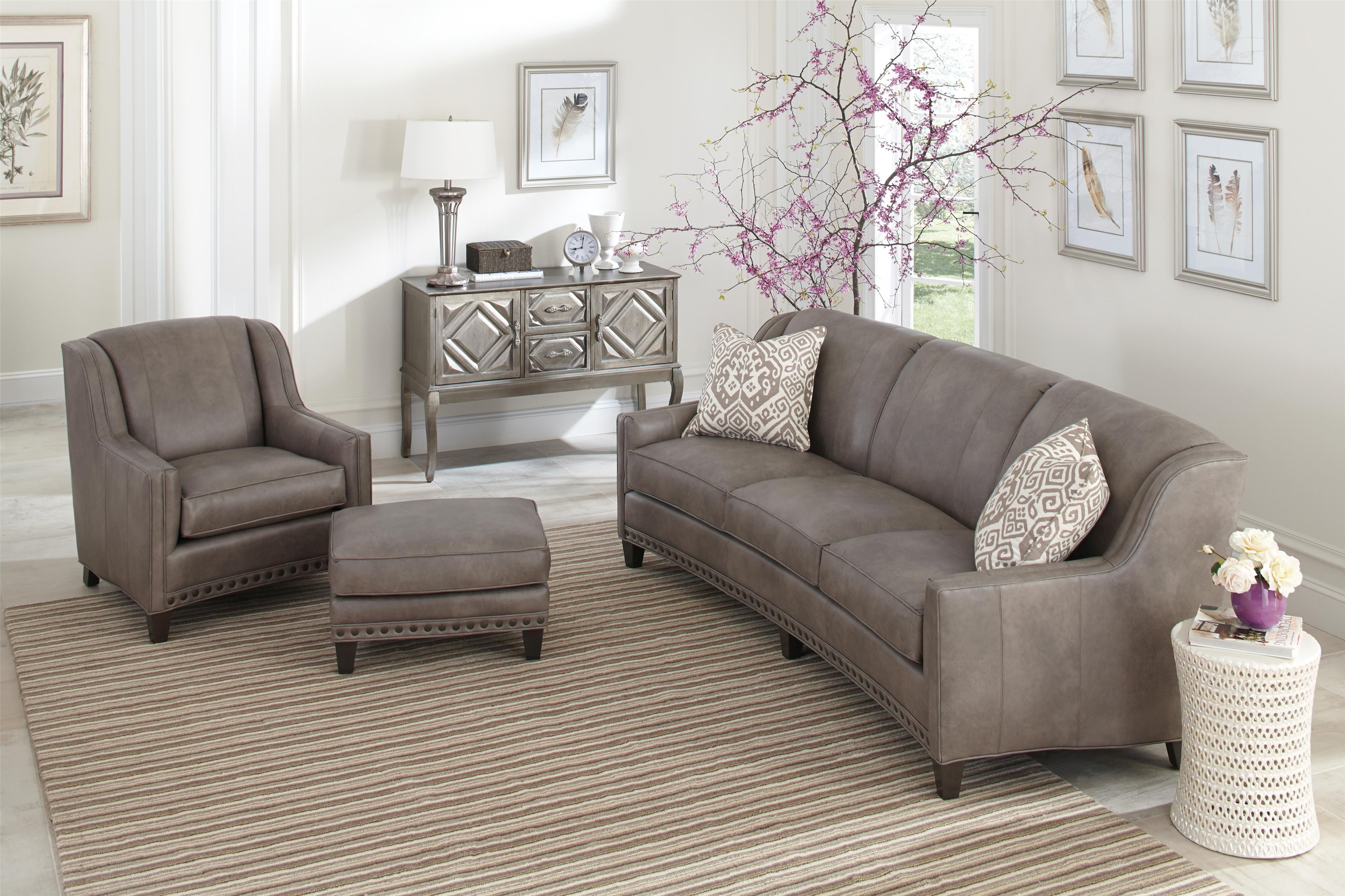 227 Slightly Curved Sofa With Sloping Track Arms And Nail Head