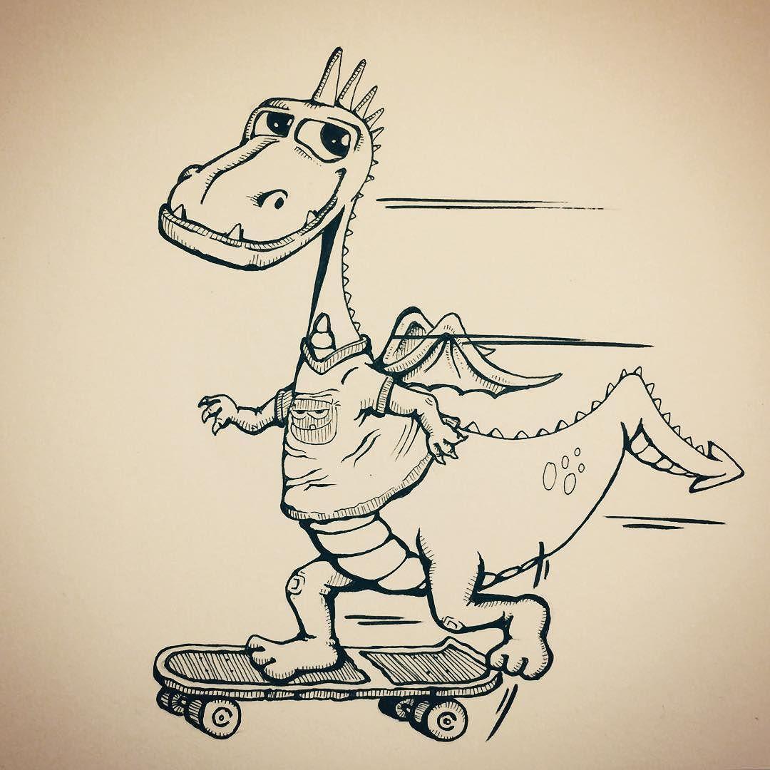 Have You Ever Seen A Skateboarding Dragon Doodle Cartoon