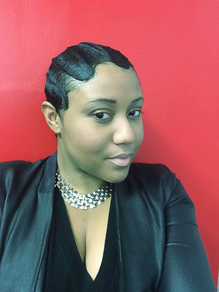 Fingerwaves On Short Relaxed Hair Setting Lotion Is Used Not Gel Finger Wave Hair Hair Waves Short Black Hairstyles