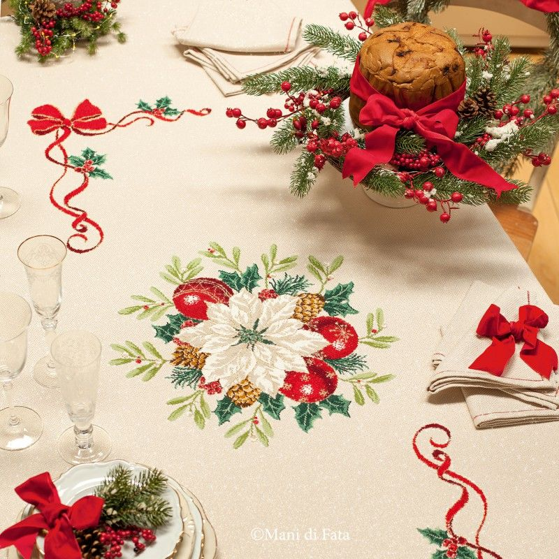 Tela aida per fare tovaglia di natale a punto croce punto croce pinterest cross stitch - Disegni punto croce per tovaglie da tavola ...