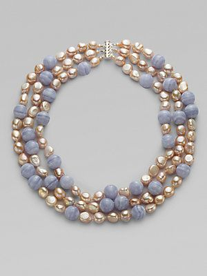 Photo of Harrison Morgan – Blue Chalcedony, Pink Freshwater Pearl & Sterling Silver Necklace
