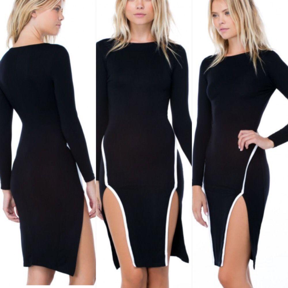 New black long sleeve double slit white trim bodycon dress size