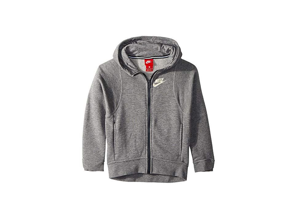 3d4fc470af4 Nike Kids Sportswear Modern Full-Zip Hoodie (Little Kids Big Kids) (Carbon  Heather) Girl s Sweatshirt. Give your basics a boost with some sweet Nike  style!