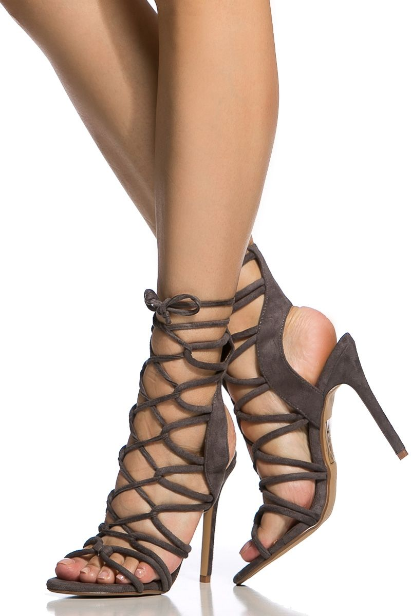 dafec5291507 Grey Faux Suede Cut Out Lace Up Single Sole Heels   Cicihot Heel Shoes  online store sales Stiletto Heel Shoes