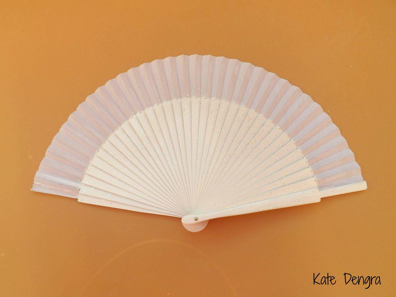 Candy Shimmer White Bridal Hand Fan SIZE OPTIONS Glitter Glittery ...