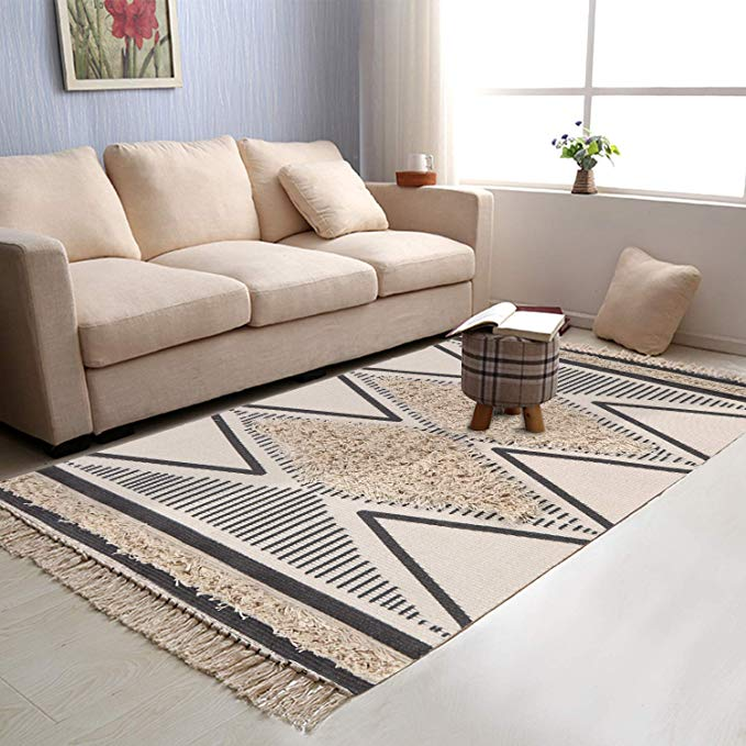 Amazon Com Tufted Cotton Area Rug 2 3 X 5 3 Kimode Woven Fringe Print Tassels Chic Modern Collection R In 2020 Geometric Carpet Cotton Area Rug Rugs In Living Room #washable #living #room #rugs