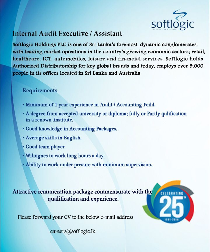 Internal Audit Assistant at Softlogic Holdings PLC Career First - executive assistant