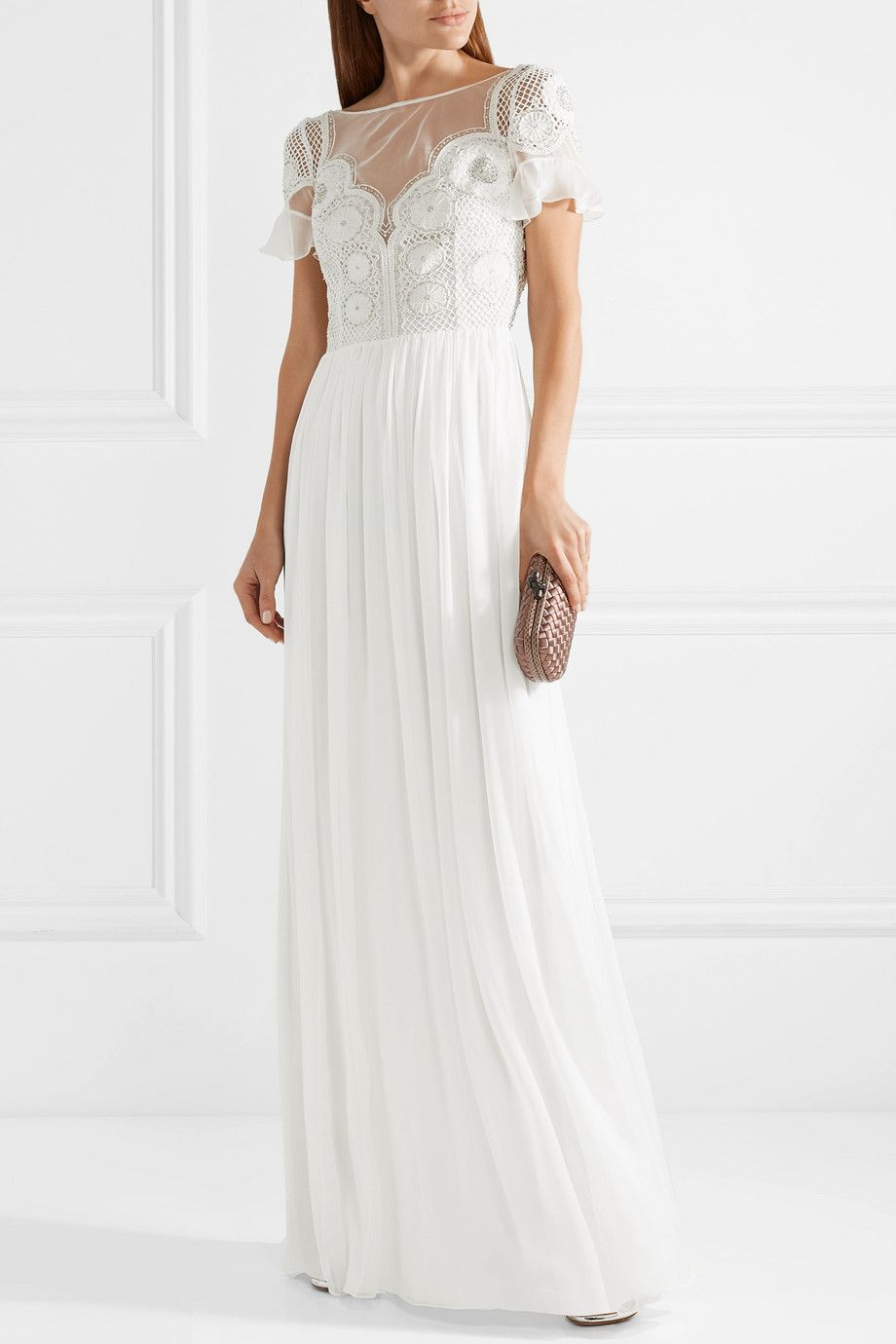 Open-back Embellished Crocheted Tulle And Silk-chiffon Gown - White Temperley London Store Sale aSQIe