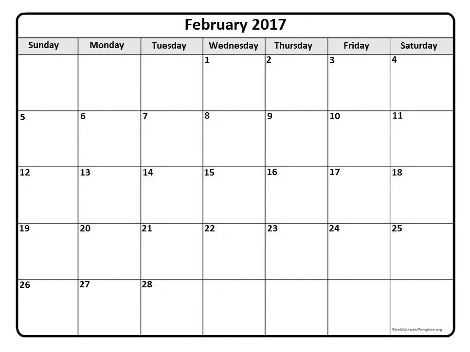 February 2017 Monthly Calendar Template | 2017 Printable Calendars