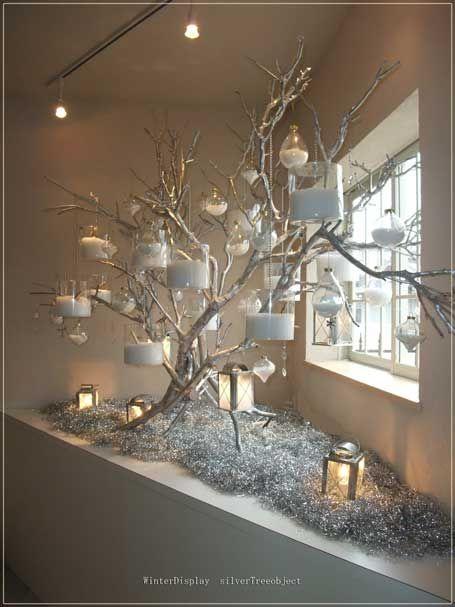 Silver Branch Tree Winter Decor Christmas Decorations