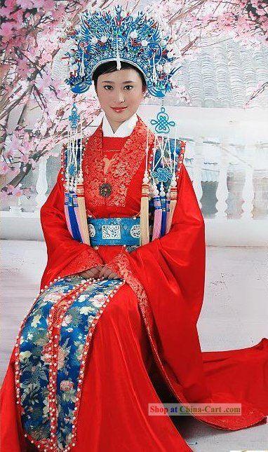 Beautiful Chinese Wedding Dress and Phoenix Crown