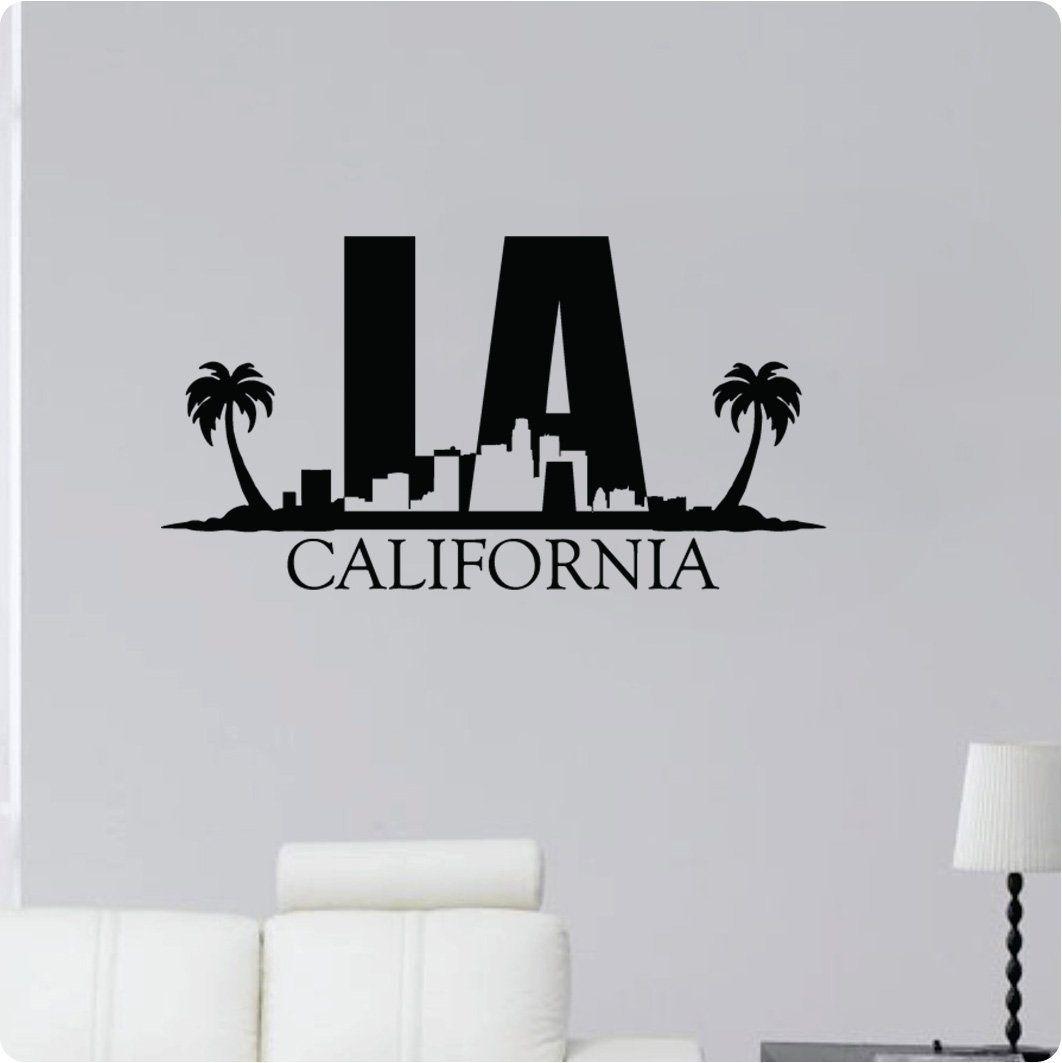 44 la california cityscape palm trees los
