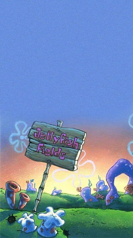 Jellyfish fields from spongebob - Wallpaper