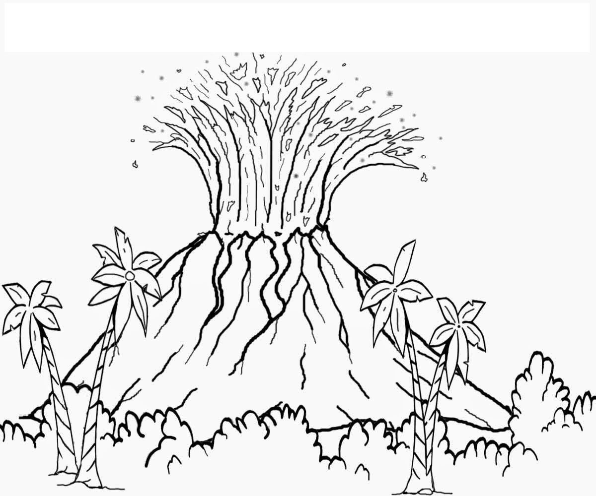Pin By Illustration Designer On Volcano Coloring Pages Dinosaur Coloring Coloring Pictures Volcano Drawing